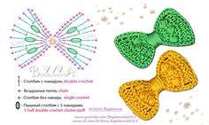 Crochet Bow Pattern, Crochet Flower Tutorial, Crochet Bows, Crochet Teddy, Crochet Cap, Granny Square Crochet Pattern, Crochet Flower Patterns, Crochet Diagram, Crochet Patterns Amigurumi