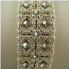 Silver Beadwoven Bracelet with Swarovski by ChainedByLightness