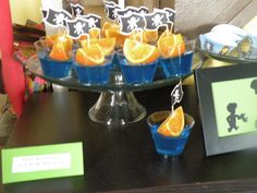 Peter Pan Party orange slices sailing on a blue Jell-o sea