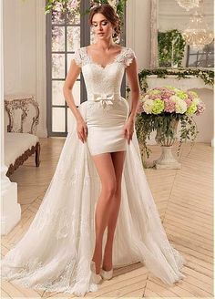 129bbbf02f Wedding Dress for Love Detachable Train High Low Sexy Short Wedding Dresses  Sweetheart Cap Sleeve Lace Summer Beach Wedding Gowns robe mariage