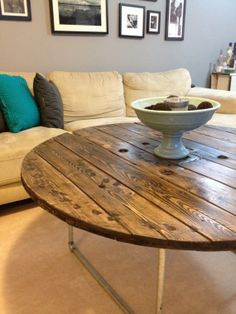 Reclaimed Wood Spool Top Tables