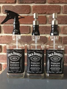 Jack Daniels 1 Liter Soap Pump and Sprayer Bottle, Black, Red, Yellow Labels