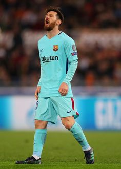 Lionel Messi of Barcelona reacts during the  UEFA Champions League Quarter Final Second Leg match between AS Roma and FC Barcelona at Stadio Olimpico on April 10, 2018 in Rome, Italy.