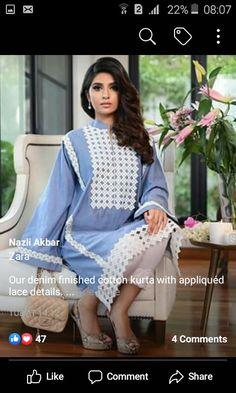 Pakistani Dress Design, Pakistani Outfits, Indian Outfits, Pakistani Clothing, Kurti Sleeves Design, Kurta Neck Design, Fashion Hub, Asian Fashion, Summer Office Outfits