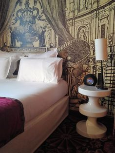 Hotel du Petit Moulin, situated in the heart of Marais in Paris, is created by fashion designer Christian Lacroix and offers a unique experience