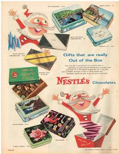 Original NESTLES CHOCOLATE BOXES CHRISTMAS TINS AD 1958 Vintage Print Ad SSV in Collectables, Advertising, Print Advertising | eBay!