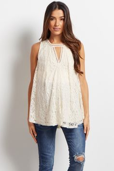 Now you can have one of the hottest trends this season in feminine lace style. This lace maternity top features a cutout detail in the front and the back to show a little skin in the most classy way. Pair this top with your favorite shorts and wedges for a chic look you can show off at any occasion.
