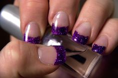 its a pain to take off but looks cool when its on Sparkle Nails, Fancy Nails, Glitter Nails, Cute Nails, Pretty Nails, Purple Glitter, Glitter Liner, Purple Nail, Silver Glitter