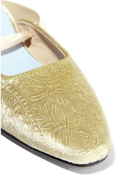 MR by Man Repeller - The Morning After Embossed Velvet Flats - Gold - IT35.5