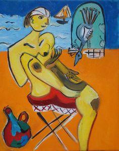 Women at beach feeding bird, original oil painting. $100,00, via Etsy.