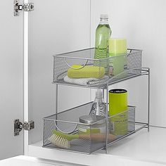 This .ORG 2-Tier Mesh Double Sliding Cabinet Basket provides sturdy and attractive storage for a variety of your items. Useful to have on a counter or a shelf, or place it inside a cabinet or cupboard for stacked storage out of sight.