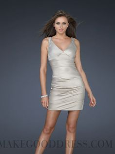 b30e0afe04f7 Silver Sheath/Column V-neck Natural Short/Mini Sleeveless Satin Prom  Dresses Dress