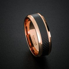 Tungsten Wedding Band 8mm Rose Gold Men's Tungsten Ring Polished Black Carbon Fiber Surface Beveled Edges Comfort Fit