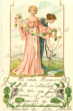 2 women in long gowns, one in pink holds out floral garland, small stream right