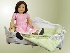 """18"""" Doll Furniture Bed and Doll Bedding for American Girl® Dolls,Victorian Trundle Dreamy Daybed Sofa"""