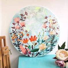 Round Floral Cotton Canvas Painting Warm Palette by Paint-Me-Happy Art, the perfect gift for Explore more unique gifts in our curated marketplace. Circle Canvas, Round Canvas, Pichwai Paintings, Colorful Paintings, Diy Canvas Art, Acrylic Painting Canvas, Pottery Painting Designs, Botanical Art, Acrylics