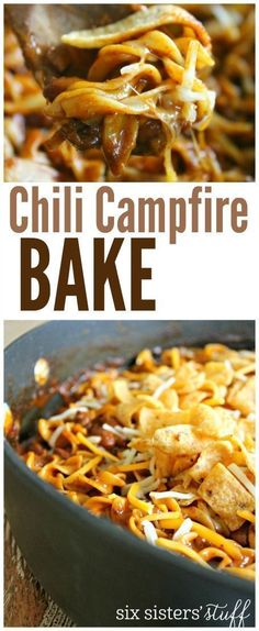 Chili Campfire Bake from SixSistersStuff.com   One Pan Recipe for Camping - Easy meal the whole family will gobble up   Summer Recipes   Kid Approved Meals