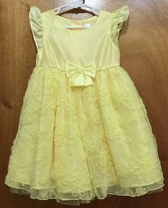 George 4T Yellow Dress Crinoline Twirly Princess Wedding Party Belle Spring #George #SouthernBelle #Party