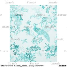 'Style' Peacock & Floral_ Tranquil Blue_Med