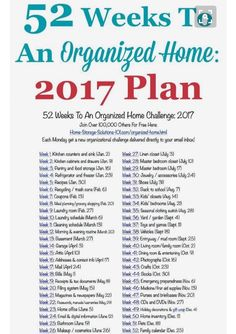 Free printable list of the 52 Weeks To An Organized Home Challenges for Join over others who are getting their homes organized one week at a time! on Home Storage Solutions 101 organizing ideas organizing tips Home Organisation, Household Organization, Life Organization, Hm Deco, Organize Life, Declutter House, 52 Week Challenge, Grand Menage, Home Storage Solutions