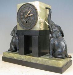 Beautiful Antique Art Deco Onyx and Bronze Mantle Clock