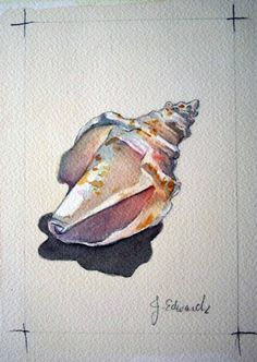 ideas painting watercolor sea watercolour for 2019 Watercolor Ocean, Watercolor Artists, Watercolor And Ink, Watercolor Animals, Watercolour Painting, Painting & Drawing, Seashell Painting, Large Painting, Painted Shells