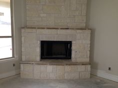 White Austin Stone fireplace
