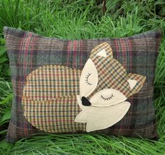 Fox cushion.  A wool cushion with a fox design.  Fox pillow.  With feather pad.