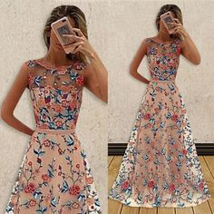 Circle Neck Embroidered Long Evening Party Dress for Women NS0911