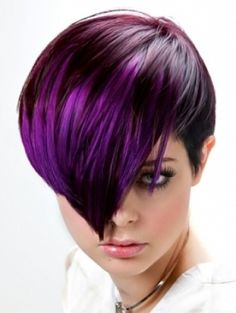 Bob hairstyle with fringe and purple highlights