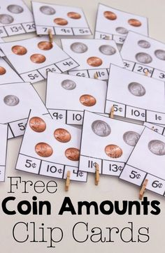 Counting Money Clip Cards for Coins Free counting coins clip cards and great books for learning about coins and money.Free counting coins clip cards and great books for learning about coins and money. Money Activities, Math Resources, Activities For Kids, Money Math Games, Life Skills Activities, Montessori Activities, Teaching Money, Teaching Math, Preschool Learning