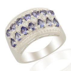 Tanzanite & White Topaz Sterling Silver Ring ATGW 2.25cts | Gems