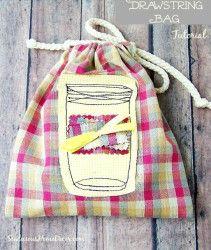 Mason Jar Drawstring Bag