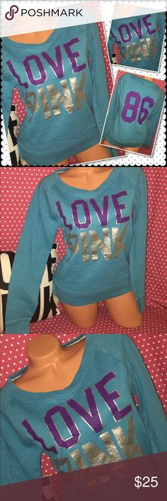 """VS PINK Pullover crew sweatshirt MEDIUM Brand: Victoria's Secret VS PINK Pullover crew  Medium- aqua in color with purple and silver graphics runs slightly loose  I have provided the measurements below for you to  Compare to your measurements, for a good fit 😊 Underarm to underarm: 20"""" Length back of neck to hem: 24""""  ⚡️Condition:  Pre loved so it will show wear--minimal piling  from washing  Smoke/Pet free bx 4  🚫no holds, no Trades 🚫I don't negotiate in comments ✅please use the offer…"""