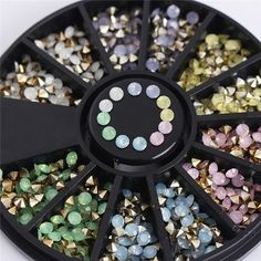 1 Box Mixed Color 3D Nail Art Decoration in Wheel Colorful Nail Studs Round DIY Manicure Nail Art Accessories Nail Tools #DIYManicure