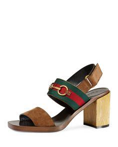 ca2efa94d02 Gucci Querelle Suede Web Sandal