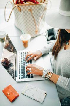 Desks, Working, Bloggers, Blogging