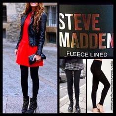 """Steve Madden Black FLEECE LINED LEGGINGS /FOOTLESS  NEW WITH TAGS  SIZE: M/T Steve Madden Black FLEECE LINED LEGGINGS /FOOTLESS TIGHTS * Incredibly comfortable & high quality; Opaque black & not sheer.  * Fabulous for layering  * Will not fade or shrink; Machine wash.  * Tagged size M/T will approx fit 4'10""""- 5'10"""" and 95-200 LBS * Super Soft & Cozy; Stretch-To-Fit Style   Fabric: 93% Polyester & 7% Spandex; Machine Wash Cold Color: Jet Black ✅ Bundle Discounts ✅ No Trades  Steve Madden…"""