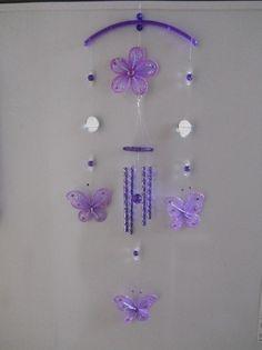 Llamador De Angeles Mariposas D Tela Y Espejos Color Violeta