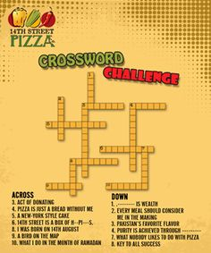 Crossword challenge. Can you solve it? Dial111-36-36-36 or visit www.14thstreetpizza.com/orderonline
