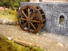 View of the water wheel after the Water Effects have dried half way