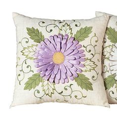 Purple throw pillows have always been my favorite type of  home décor accent to use in both my bedroom and living room.  Especially true when it comes to abstract  purple accent pillows and purple floral throw pillows like these.  Purple home décor has always been trendy,  enchanting and a powerful way to make a bold statement.  #purple #homedecor #pillows      Daisy Ribbon Accent Pillow, White, Polyester & Polyester Blend