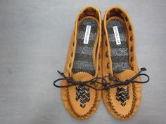 DIY Moccasins | Katie Blauer  Using the Tandy Leather pattern & adding personal touches.