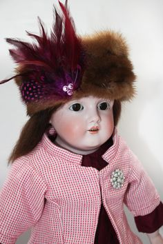 """This doll is Kestner 154 bisque headed, kid leather bodied 22"""" doll"""