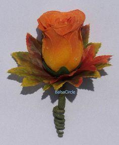 Orange Roses Fall Leaves Boutonniere Groom Best Man Autumn Wedding Silk Flowers | eBay