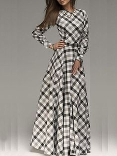 Appealing Crew Neck Blended Plaid Maxi-dress Maxi Dresses from fashionmia.com