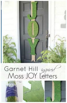 Garnet Hill Inspired Moss Joy Letters. What a beautiful and stunning piece to hang on you front door and say much about Christmas vibe!