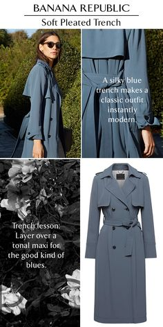 Our Soft Pleated Trench is the layer to live in this spring. The classic trench coat gets a feminine update in a silky fabric and a sky- blue shade. Shop now at Banana Republic.