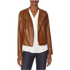 The Limited Faux Leather Moto Jacket Brown