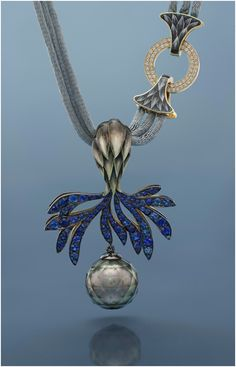 "Ilgiz F ""Thistle"" necklace with plique-à-jour enamelling, sapphires, diamonds and a faceted pearl."